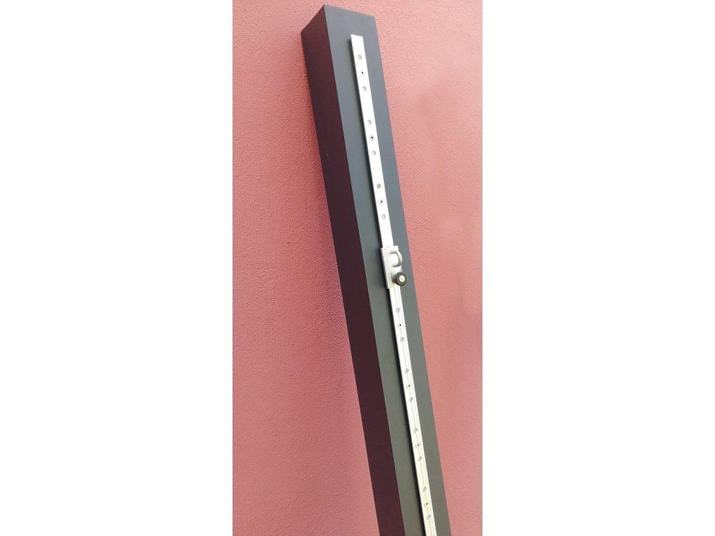 hliníková tyč s koľajničkou rez