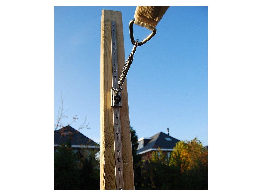 koľajnička s očkom na drevený stĺp